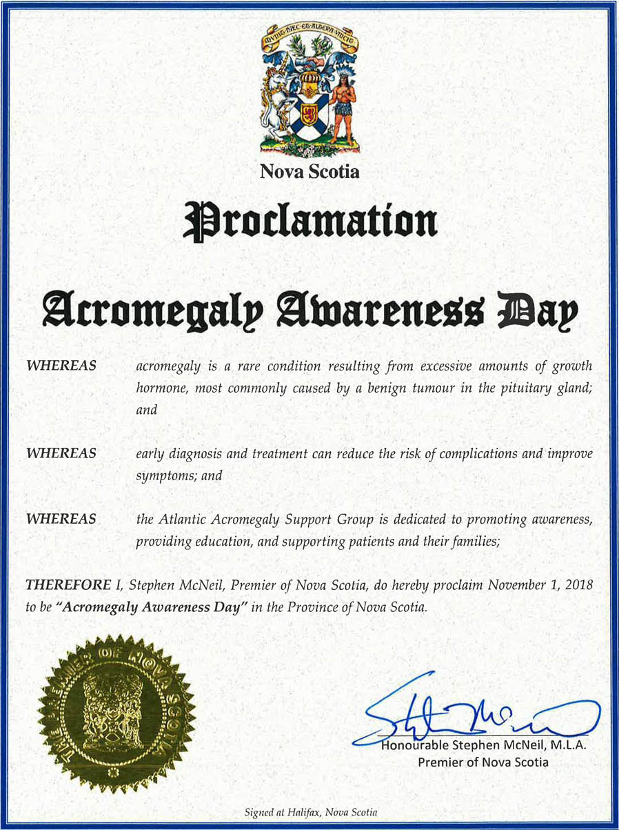 Acromegaly Awareness Day Nova Scotia